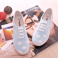 Sweet blue sky clouds shoes