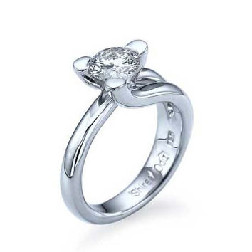White Gold Tension Set Diamond Solitaire Engagement Ring 3 Prong