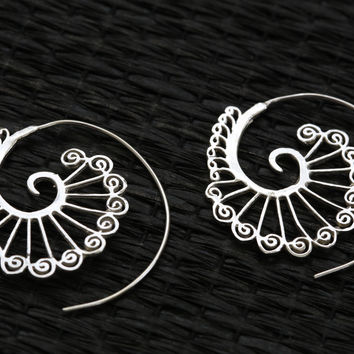 Tribal Brass Spirals Earrings  -Gold and Silver