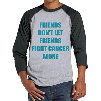 Men's Friends Fight Cancer Shirt - Team Race Shirts - Cancer Awareness - Grey Raglan Shirt - Men's Grey Baseball Tee - Running Shirt