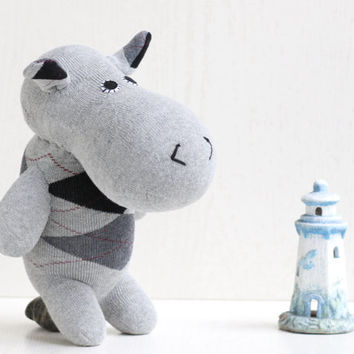 Handmade  stuffed   hippo  for baby  Stuffed Animal  kids  Plush Toy  sock doll   Ready to Ship