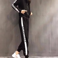 """""""Balenciaga"""" Women's Leisure  Fashion Letter Printing Spell Color Hooded Long Sleeve Trousers Two-Piece Casual Wear"""