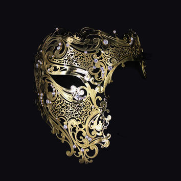 Men Women Evil Half Skull Phantom Laser Cut Gold Venetian Filigree Metal Masquerade Mask Silver Rhinestones Halloween Party Mask