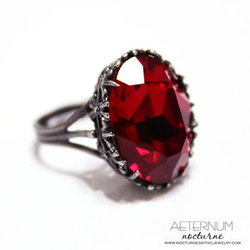 Vampire Gothic ring, alternative engagement ring - antique silver, Blood red Swarovski crystal stone  - Victorian Gothic jewelry