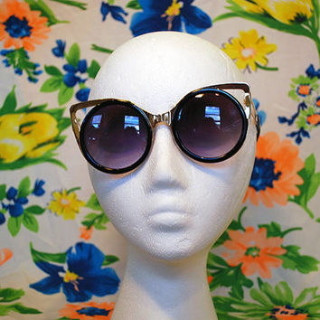 NEW- Oversized Round Metal Cateye Sunglasses Shiny Cutout Glasses