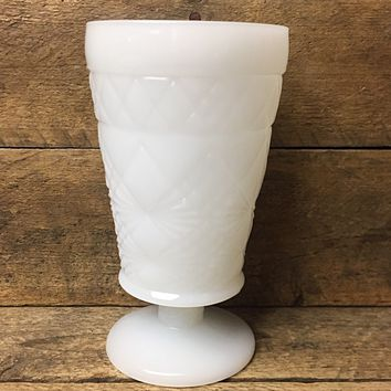 Vintage Milk Glass Footed Vase with Diamond Cut Design