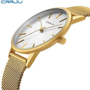 CRRJU Ultra Slim Gold Watch Men Luxury Business Man Watch Golden Waterproof Unique Fashion Casual Quartz Male Dress Clock Gift