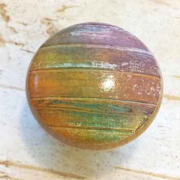 Distressed Wood Knob Drawer Pulls, Orange Green Wine Tones, Old Wood Cabinet Handles,  Reclaimed Wood, Made To Order, Style 6
