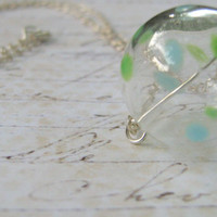 Hollow Glass Bead Green and Blue Polka Dot and Sterling Silver Necklace