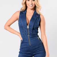 Love Radar Romper - Denim