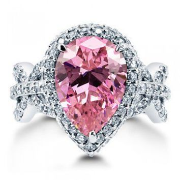 Pear Pink Cubic Zirconia CZ Sterling Silver Halo Cocktail Ring 5.41 Ct #r725