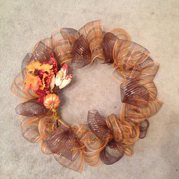 Fall Deco Wreath by MBellaBowtique on Etsy