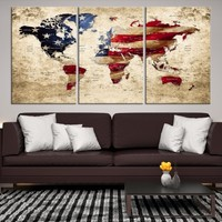 22377 - America Flag Wall Art Canvas Print, USA Flag Wall Art Canvas Print, USA Flag Wall Art Canvas Print Framed Ready to Hang, American Flag Art