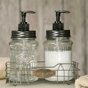 Hoosier Soap & Lotion Caddy with Glass Dispensers