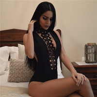 lace bodysuit women open back backless jumpsuit hot erotic sexy overall female see trough hollow halter eyelash romper N078