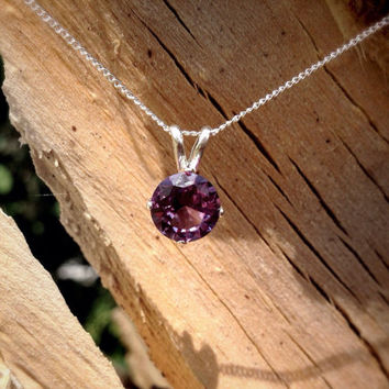 Alexandrite and Silver Necklace, Bridesmaids Gifts, June Birthstone, Color-Change Gemstone,  Free Shipping