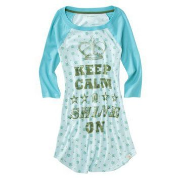 Xhilaration® Juniors Vintage Varsity Sleep Tee - Laser Aqua/Green