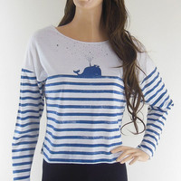 Whale Fish Sea Ocean Animal Style Crop Top Blue Striped White Long Sleeve  Sceen Print Size M