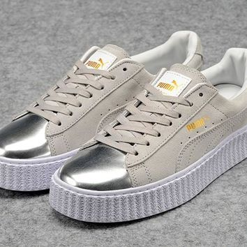 Fenty Rihanna by Puma Suede Creepers Grey Silver Shoes For Mens Womens