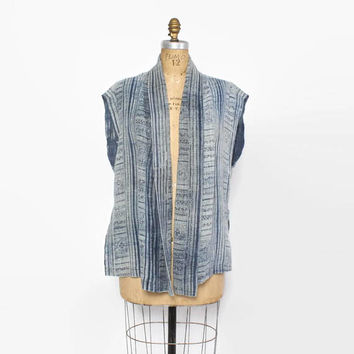 Vintage 80s Hand Woven Jacket / 1980s Natural Indigo Dyed Draped Loose Jacket