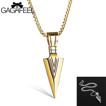 GAGAFFEL Luxury Men Shield Shape Pendant Necklaces 316L Stainless Steel Laser Engrave Logo