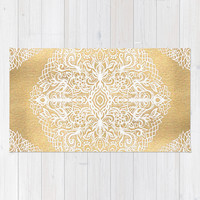 White Gouache Doodle on Gold Paint Rug by Micklyn