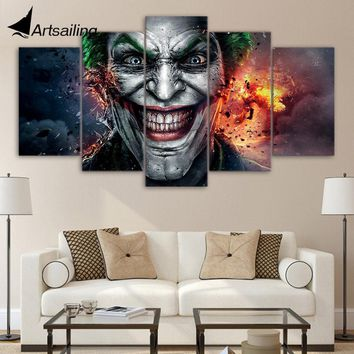 Batman Dark Knight gift Christmas ArtSailing 5 Pieces Canvas Paintings Batman Joker Comics Wall Art Canvas art Pictures For Living Room Bedroom Home Decor ny-3098 AT_71_6
