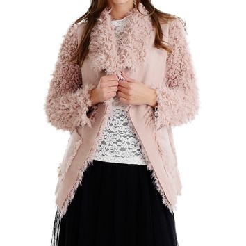 Shaggy Faux Fur Jacket with Swede Body
