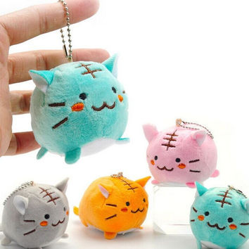 Kawaii 4Colors Choice - 6CM TIGER CAT Plush Key chain DOLL Plush Stuffed TOY DOLL ; Kitty Pendant TOY Wedding Bouquet Gift DOLL