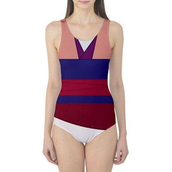 Pink Mulan Inspired One Piece Swimsuit