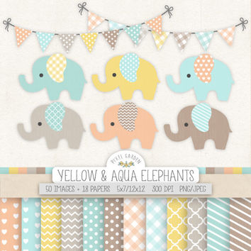 Baby Elephant Clipart. Mint, Pink Baby Shower Clip Art, Digital Paper. Chevron, Polka Dot Banner. Pastel Yellow, Aqua, Blue Nursery Clipart