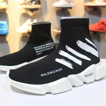 PEAP5 OFF WHITE x Balenciaga Speed Stretch Knit Mid Sneakers Scapra Dlast.s.Go MMA Black Socks Shoes