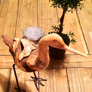 Wooden Bird; Christmas gift; wooden shorebird sculpture;
