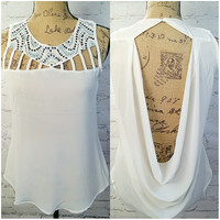 STRONG CURRENTS CHIFFON TOP IN WHITE