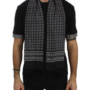 Black Cotton Baroque Silk Scarf T-shirt