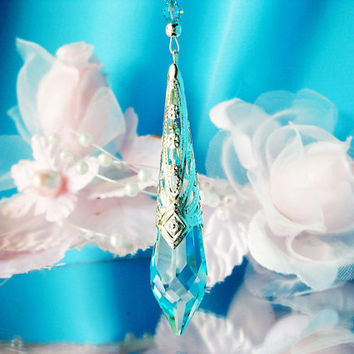 Crystal Pendulum Rear View Mirror Charm Turquoise Blue Car Accessories