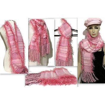 FIBER ART WOVEN SCARF: THE PINK