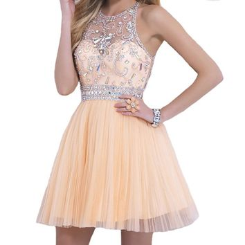 VILAVI A-line Round Brought Short graduation dresses Juniors Dresses 2 Daffodil