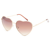 Full Tilt Luv Heart Sunglasses Gold One Size For Women 22136862101