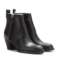 acne studios - pistol short shearling-lined leather ankle boots