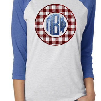 PI Beta Phi Glitter Buffalo Check Raglan Shirt