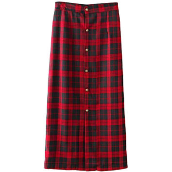 Plaid Button Down Sheath Skirt