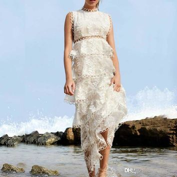 2019 lace Boho Inspired maxi dress elegant flowy embroidered layered sleeveless white dress Tiered Women's luxury party dresses Floor Length