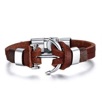 Leather Anchor Bracelet Fashion Men Hooks Bracelet
