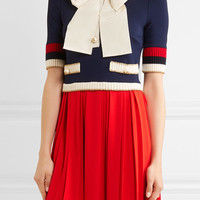 Gucci - Bow-detailed ribbed knit-trimmed pleated stretch-crepe mini dress
