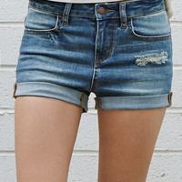 Bullhead Denim Co. Joe Blue Ripped Mid Rise Super Stretch Denim Shorts at PacSun.com