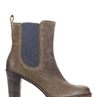 Brunello Cucinelli Womens Grey Grained Leather Chelsea Booties