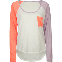 Volcom Pocket Blocket Womens Raglan Tee White Combo  In Sizes