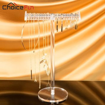 CHOICEFUN Hanging T-Bar Clear Tall Acrylic Jewellery Display Organizer Plastic Tabletop Jewelry Necklace Holder For Bracelet