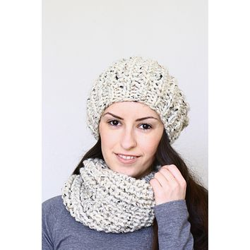 Knit hat and cowl set, chunky hat and cowl